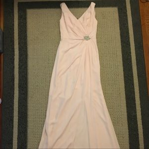 Crepe Sheath Dress with Side Slit and Cowl Back